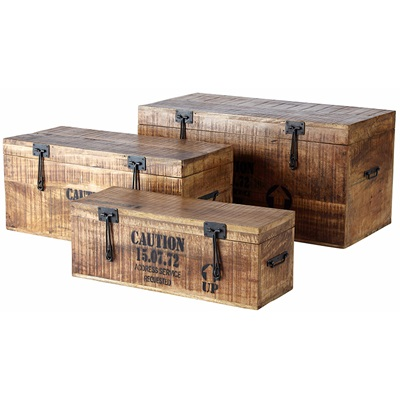 SET OF 3 WOODEN STORAGE BOXES in Industrial Style
