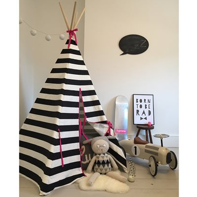 WILDFIRE KIDS TEEPEE in Stripes with Pink Trim