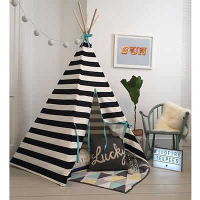WILDFIRE KIDS TEEPEE in Stripes with Seafoam Trim