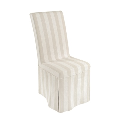 PAIR OF LOOSE COVER DINING CHAIRS in Striped Linen Design