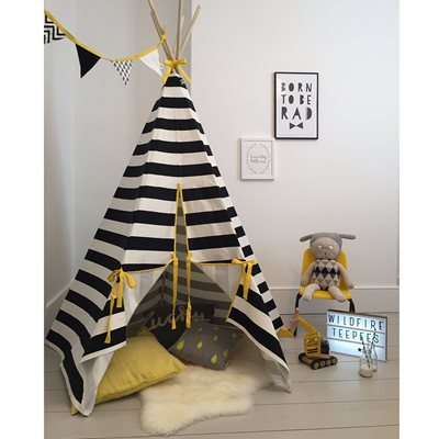 WILDFIRE KIDS TEEPEE in Stripes with Yellow Trim