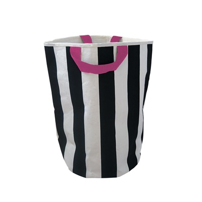 WILDFIRE KIDS TOY STORAGE BAG in Stripes with Pink Handles