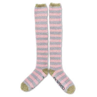 POWDER STRIPE KNEE HIGH COSY BED SOCKS in Candy