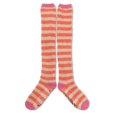 POWDER STRIPE KNEE HIGH COSY BED SOCKS in Camel