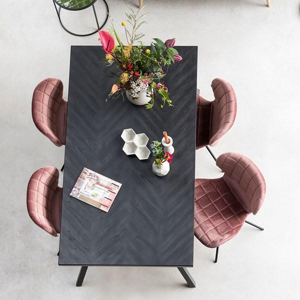 Black Herringbone Design Table