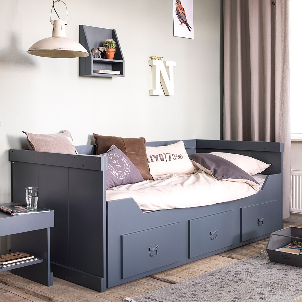 Rough Kids Day Bed With Trundle Bed And Drawers In Grey
