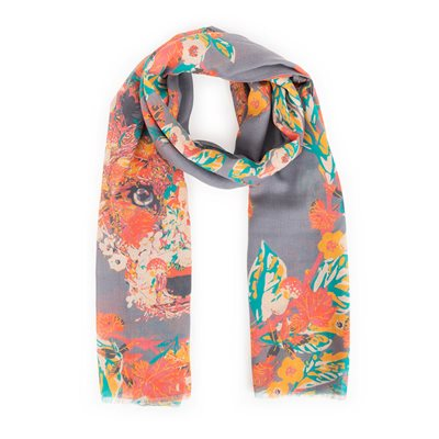 Powder Floral Fox Print Scarf