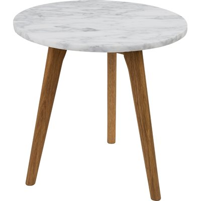Zuiver White Stone Scandi Side Table in Marble & Oak