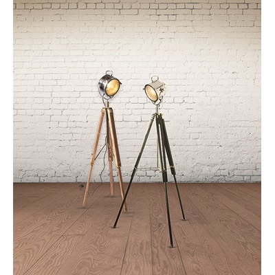 TRIPOD FLOOR LAMP in Industrial Nickel Finish