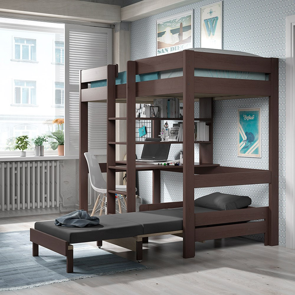 Pino Kids High Sleeper With Sofa Bed In Taupe - Kids Beds ...