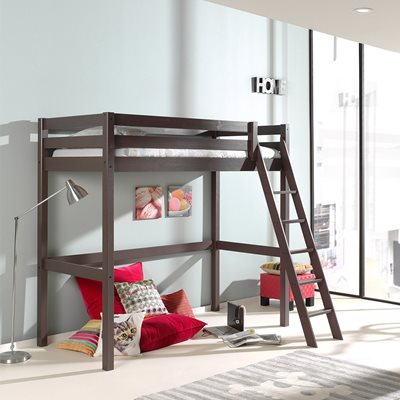 PINO HIGH SLEEPER WITH SLANTED LADDER in Taupe