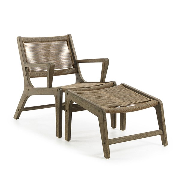 Basso Eucalyptus Armchair and Footstool by La Forma