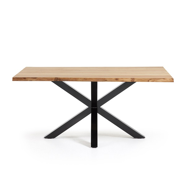 Arya Cross Leg Dining Table In Black Amp Oak Casa Lujo