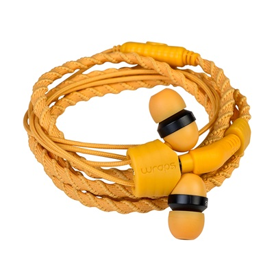 Wraps Classic Wristband Headphones with Microphone in Sunrise Orange