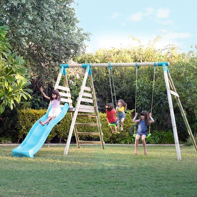 TP TOYS ALASKA DOUBLE WOODEN SWING SET & SLIDE