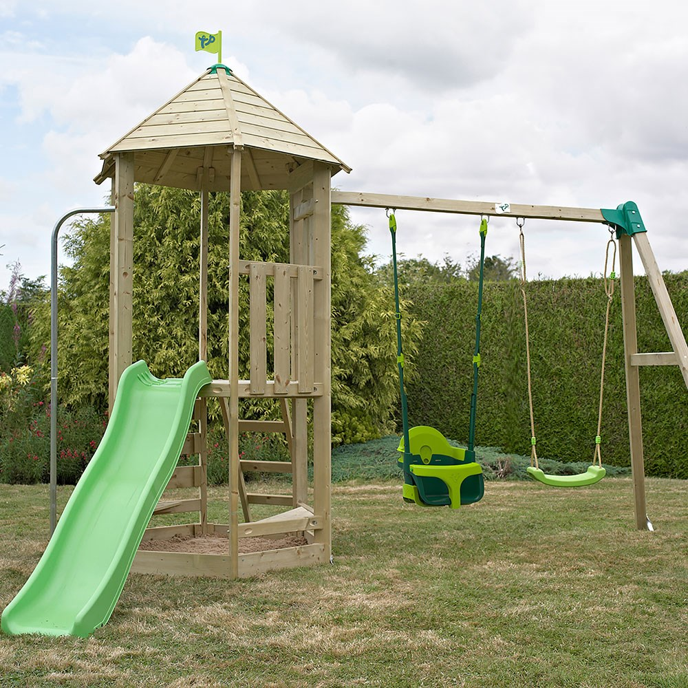 Tp Toys Castlewood Carrisbrooke Wooden Swing Set Slide