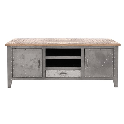 INDUSTRIAL DETROIT TV Unit & Cabinet with Drawer