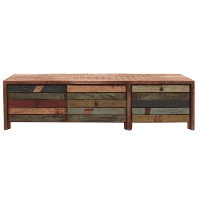RUSTIC HAITI WOODEN TV STAND & CABINET