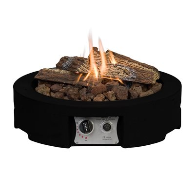 ROUND TABLE TOP COCOON GAS FIRE PIT in Black