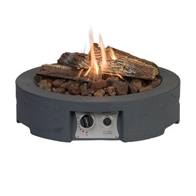 ROUND TABLE TOP COCOON GAS FIRE PIT in Grey