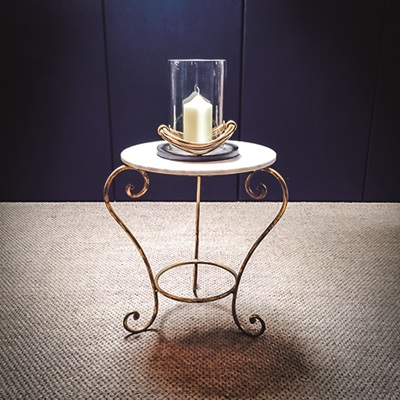 CHELSEA VINTAGE SIDE TABLE in Iron and Marble