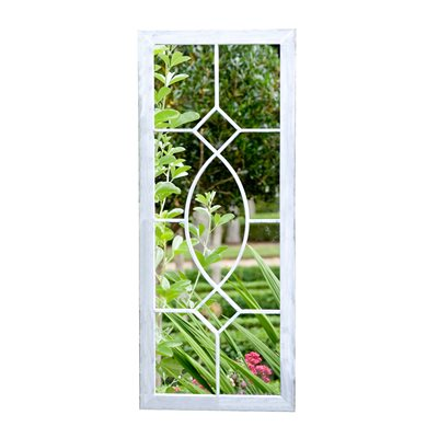 RECTANGULAR TALL GARDEN MIRROR in Grey Wash Steel