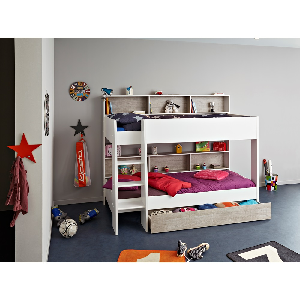 Childrens Bunk Bed In White Amp Grey Tam Tam Bunk Beds