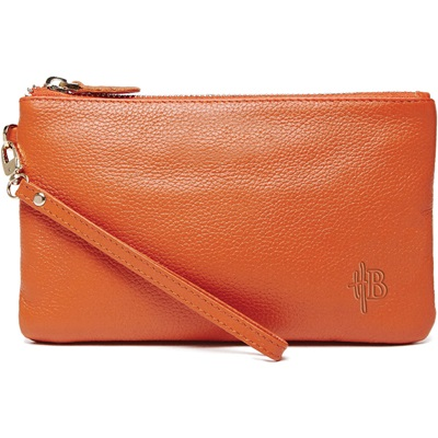 PHONE CHARGING MIGHTY PURSE in Tangerine Orange Cow Leather