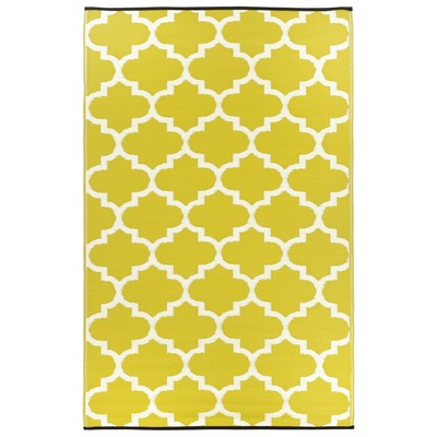 FAB HAB TANGIER OUTDOOR RUG in Celery & White