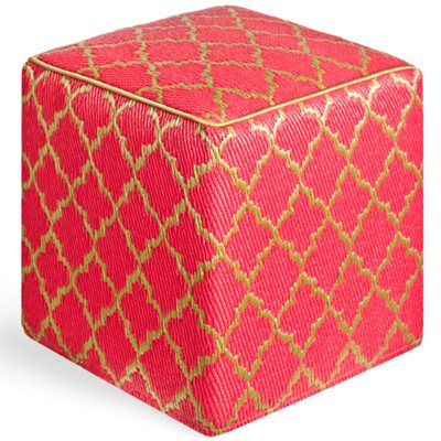 TANGIER OUTDOOR CUBE POUFFE in Pinkberry & Bronze