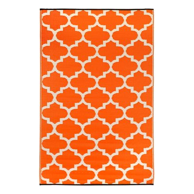 TANGIER OUTDOOR RUG in Carrot & White