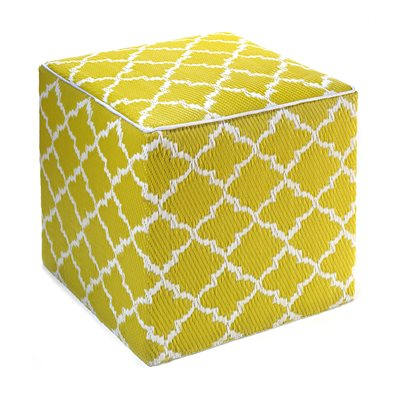 TANGIER OUTDOOR CUBE POUFFE in Celery & White