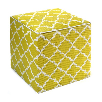 FAB HAB TANGIER OUTDOOR CUBE POUFFE in Celery & White