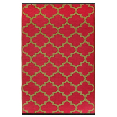 FAB HAB TANGIER OUTDOOR RUG in Pinkberry & Bronze