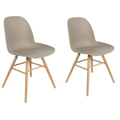Zuiver Pair of Albert Kuip Retro Moulded Dining Chairs in Taupe