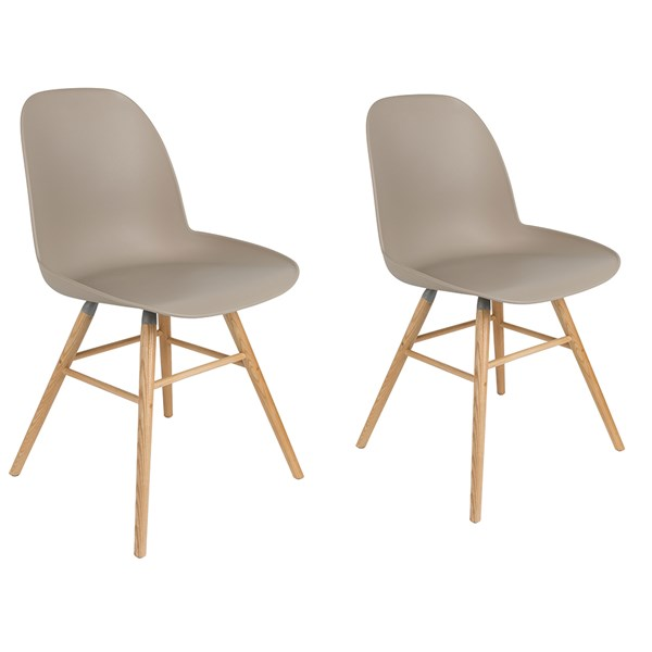 A Pair of Albert Kuip Retro Moulded Dining Chairs in Taupe