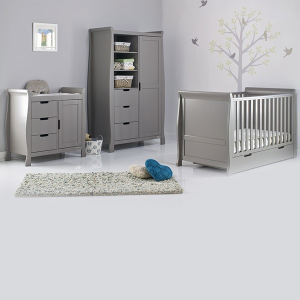 Stamford Cot Bed 3 Piece Nursery Room Set in Taupe Grey