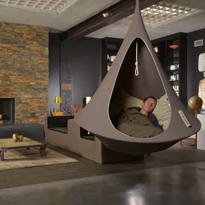 Single Hanging Cacoon In Taupe - Hanging Chairs | Cuckooland