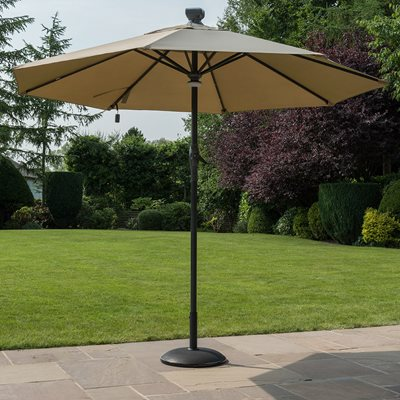 SOLAR AUTO OPENING GARDEN PARASOL in Taupe and Grey