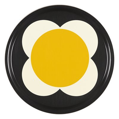 ORLA KIELY LARGE ROUND TRAY in Denim Spot Flower Print