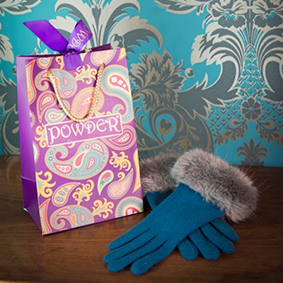 TALLULAH Ladies Designer Wool Gloves in Teal & Slate