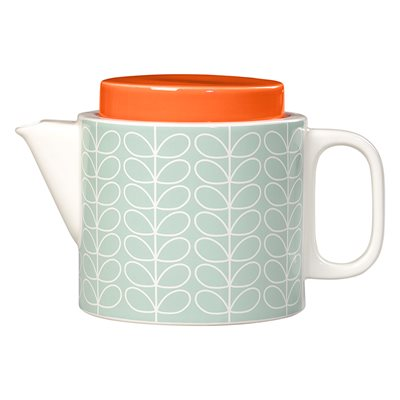 ORLA KIELY CERAMIC TEAPOT in Linear Stem Duck Egg Blue Print