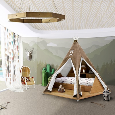 LUXURY CHILDRENS TEEPEE BED with Toy Storage