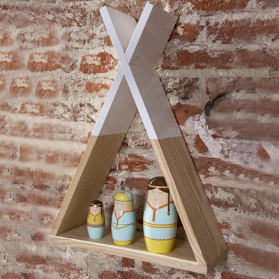 KID'S TIPI WOODEN WALL SHELF