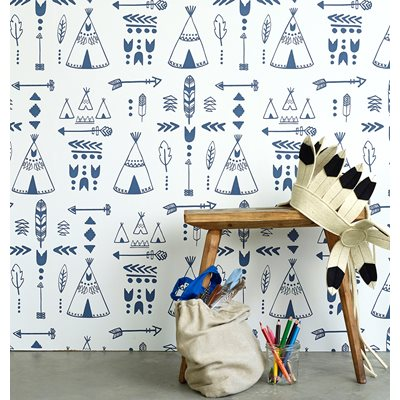 Teepees Design Wallpaper in Indigo & White