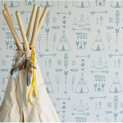 TEEPEES DESIGN WALLPAPER in Storm Green on Grey