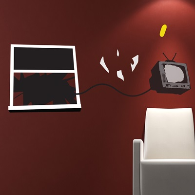 BANKSY WALL STICKER in 'Television Window' design