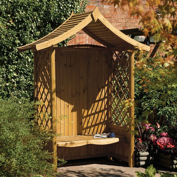 Tenbury Oriental Outdoor Arbour in Natural Timber