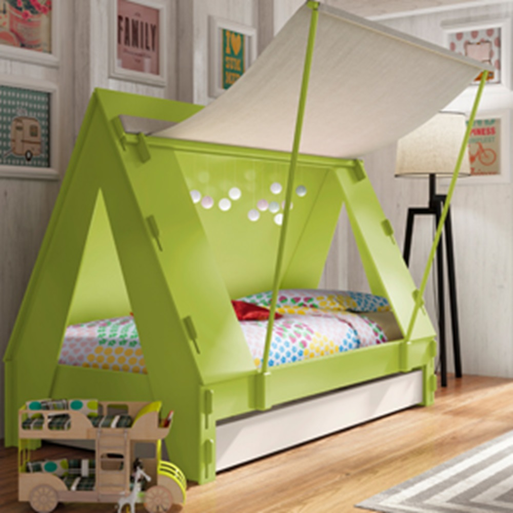 childrens tent cabin bed in green by mathy by bols cuckooland. Black Bedroom Furniture Sets. Home Design Ideas