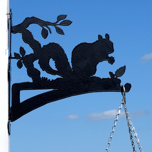 Black Metal Squirrel Hanging Basket Bracket